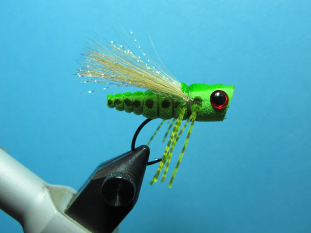 foam popping grass hopper terrestrials flies fly tying fishing brook rainbow trout bass